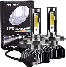 INFITARY H4/9003/HB2 LED Headlight Bulbs Hi/Lo Conversion Kit Adjustable High Low Beam Plug&Play Car Motorcycle Vehicle COB Headlamp Fog Light 8000LM 6500K Cool White Replacement LED Headlight 3Yr