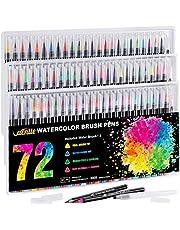 VACNITE 水彩毛筆 カラー筆ペン 72色セット 水性筆ペン 水彩ペン 絵描き 塗り絵 アートマーカー 美術用 事務用 画材 子供用画材 収納ケース付き
