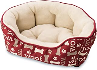 Sleep Zone Woof Print Scallop Cuddler Dog Bed - Non-Woven Bottom - 21X17 Inches/Burgundy/Attractive, Durable, Comfortable, Washable. by Ethical Pets