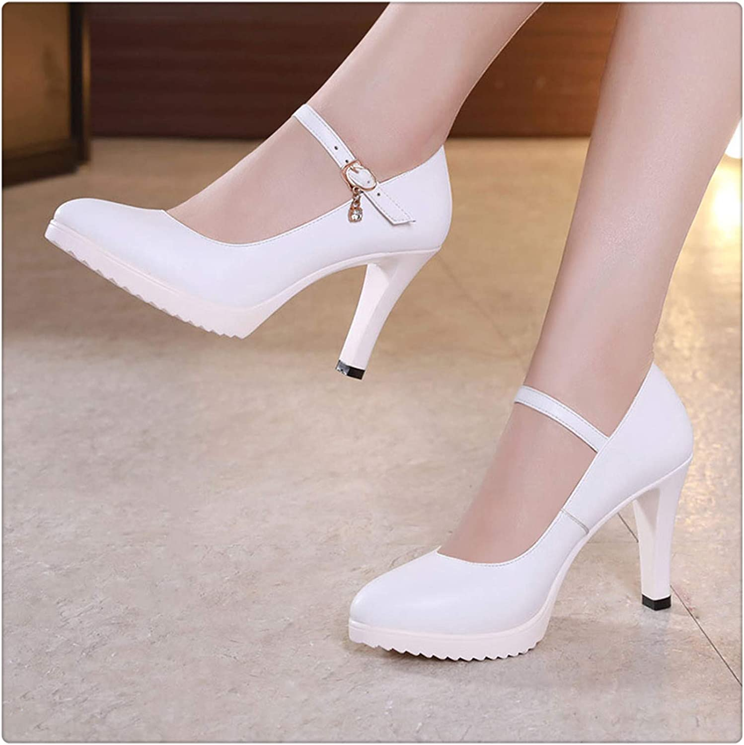 GLOPY& Pointed Toe Women Genuine Leather shoes for Wedding Women Platform Pumps with High Heels shoes for Office Work shoes White8CM 3.5