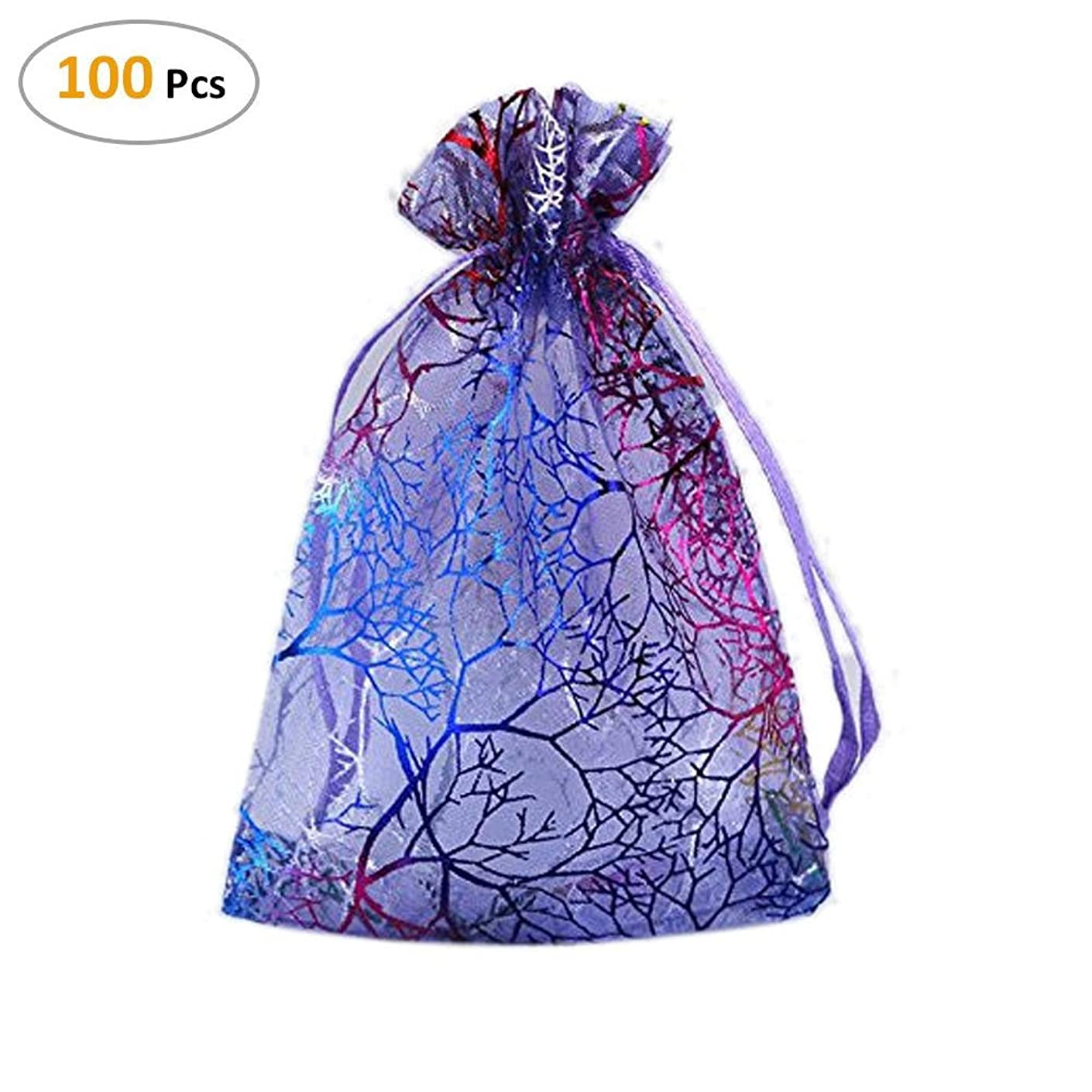100Pcs Organza Coralline Drawstring Pouches Jewelry Bags Makeup Bags Candy Pouch Wedding Party Candy Chocolate Christmas Favor Gift Bags 3.35