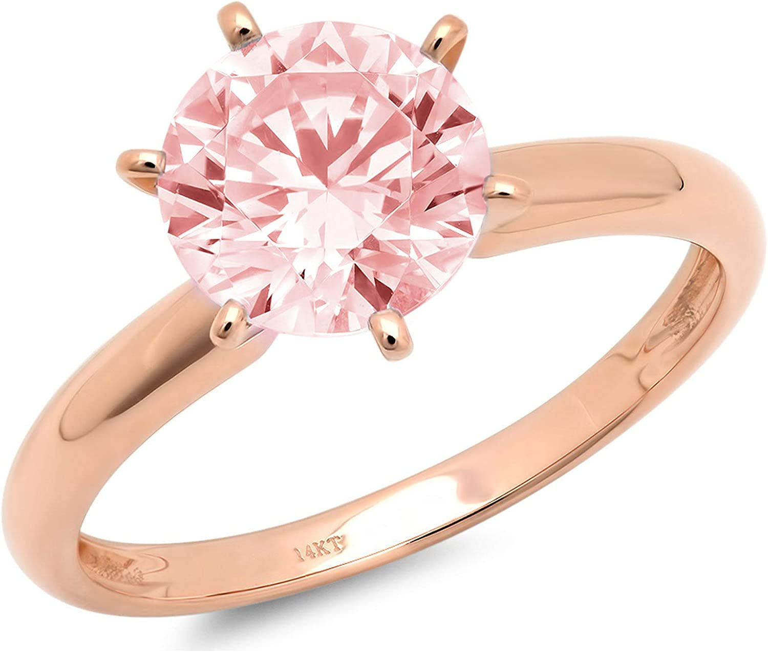 0.50 ct Brilliant Round Cut Solitaire Pink Simulated Diamond CZ Ideal VVS1 D 6-Prong Engagement Wedding Bridal Promise Anniversary Ring in Solid Real 14k rose Gold for Women