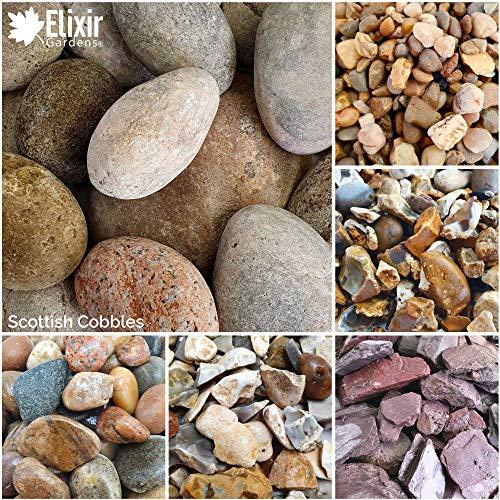 Elixir Gardens Decorative Coloured Stones Scottish Cobbles 50mm-80mm 20kg x 1