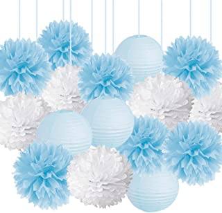 15pcs Baby Shower Decorations Tissue Paper Pom Poms Mixed Paper Lanterns Party Supplies kit for White Blue Frozen Themed Boy Baby Shower Birthday Party Bridal Shower Party Decorations