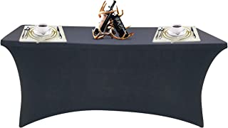 SEPARO 4/6/ 8FT Stretch Tablecloth Rectangular Spandex Table Cover for Outdoor Party DJ Tradeshows Banquet Vendors Weddings Celebrations, etc