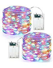 MIRADH 2 Pack of 10 Feet 30 Led 2 Mode Fairy Lights Battery Operated Waterproof Copper Wire Twinkle String Lights for Bedroom -Multicolor (2 Mode- Steady on & Flash-Pack of 2)