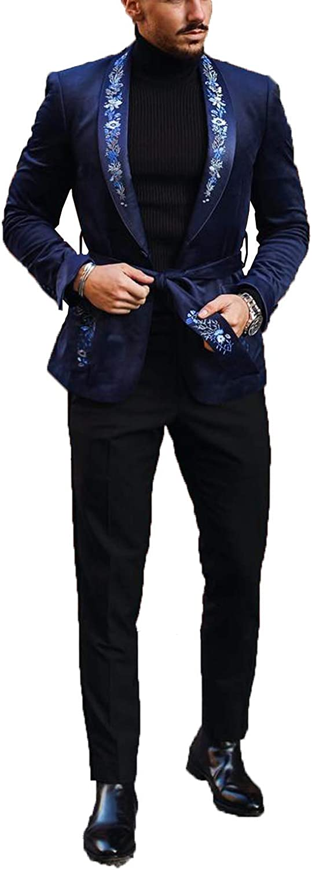 Men Suits Black Slim Fit 2 Pieces Blazer Pant Fashion Comfortable Formal Wear Size Customization