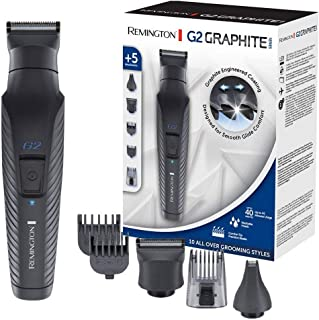 Remington G2 Graphite Series PG2000 - Set Recortador de Barba y Cortapelos, 5 Accesorios, Inalámbrico, Revestimiento de Gr...