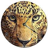 prz0vprz0v 12' Decoración de pared Vintage Majestic Jaguar Close-Up Reloj de pared de madera decorativo redondo reloj colgante