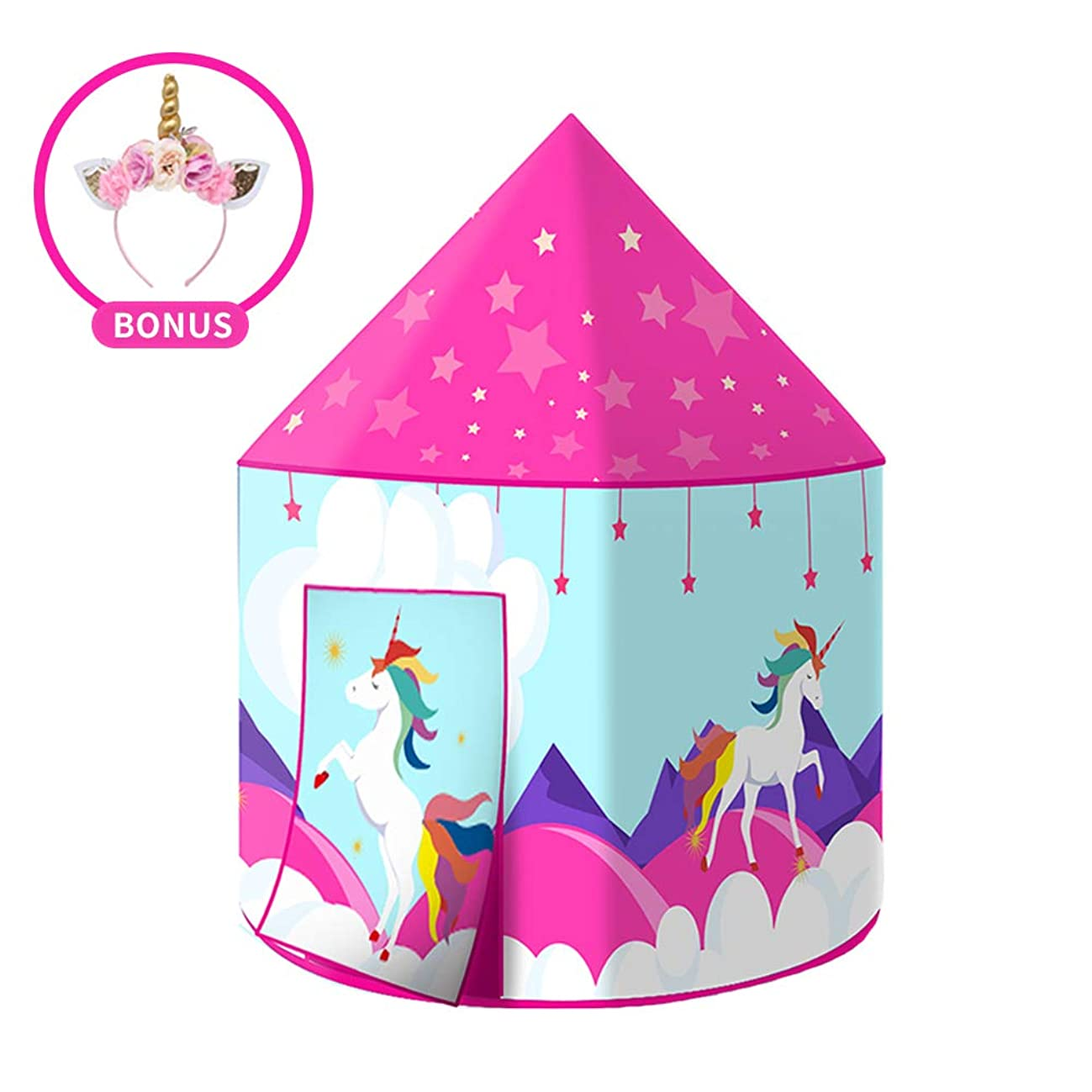 Wonder Space Princess Unicorn Play Tent, Fairy Unicorn Pop Up Playhouse for Children, Girl's Indoor & Outdoor Dream Party Castle, Comes with Cute Unicorn Headband & Portable Carrying Case