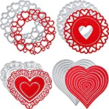 15 Pieces Valentine's Day Cut Dies Heart Dies Stencils Metal Cutting Dies Cuts Love Circle Embossing Stencils Template for DIY Crafts Scrapbooking Card Making Supplies