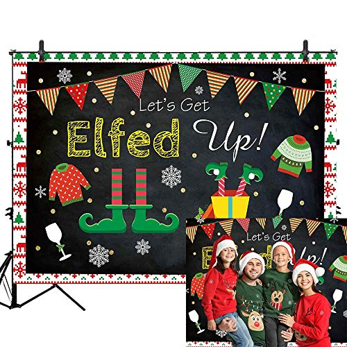Allenjoy Ugly Sweater Christmas Backdrop for Pictures Xmas Kids Elfed Birthday Party Photo Booth Decoration Winter New Year Tacky Blackboard 7x5ft Banner Photography Background Family Photoshoot Props