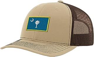 South Carolina State Flag Embroidery Richardson Structured Front Mesh Back Cap Khaki/Coffee