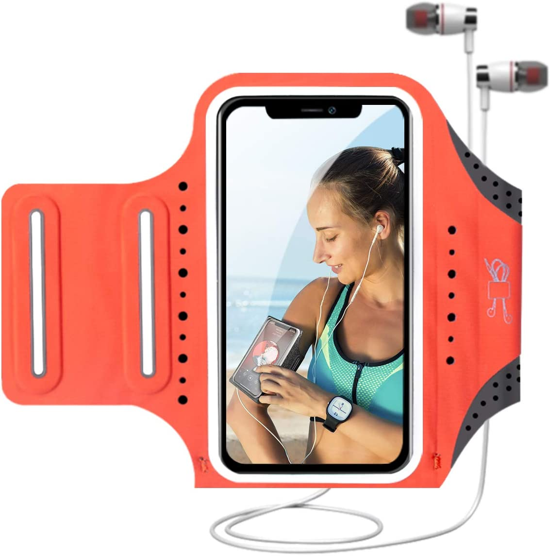 MILPROX Cell Phone Armband, Universal Waterproof Phone Arm Holder with Adjustable Elastic Band & Card Holder Fits for All Phones up to 6.5 Inches (iPhone, Samsung, LG, Pixel) for Gym, Hiking - Coral