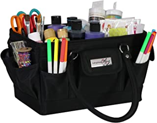 Everything Mary Black Deluxe Store and Tote - Storage Craft Bag Organizer for Crafts, Sewing, Paper, Art, Desk, Canvas, Su...