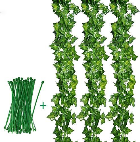 Plantas Hiedra Artificial (12pcsx2m) Hiedra Hojas de Vid Artificial Enredadera Guirnalda Decorativa para Decoración Hogar Escalera Ventana Balcón Valla Jardín Boda Mesa Fiesta Interior y Exterior