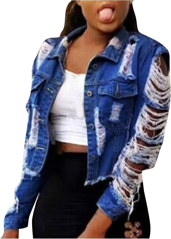 Coats for Women, Women Vintage Button Down Distressed Short Denim Jean Jacket Coat with Pocket