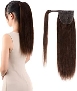 Ponytail Extensions Real Human Hair Clip in 18 inches 70g Dark Brown Color Straight Drawstring Warp Around Ponytail Hair Piece Remy Human Hair for Women (18