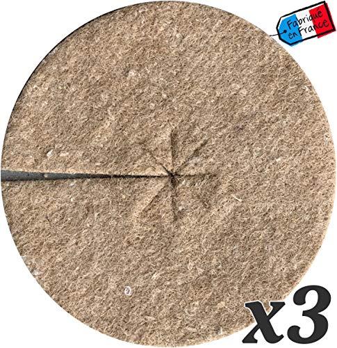 Mulchscheibe Jute Bio 700g / m² - Schutz gegen Unkraut biologisch abbaubar und natürlich - 19 cm - Charge von 3 (19 cm)