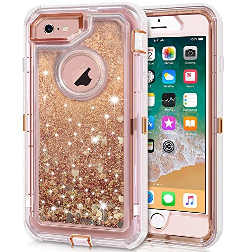 Anuck iPhone 6S Plus Case, iPhone 6 Plus Case, 3 in 1 Hybrid Heavy Duty Defender Case Sparkly Floating Liquid Glitter Protective Hard Shell Shockproof TPU Cover for iPhone 6 Plus/6S Plus - Rose Gold