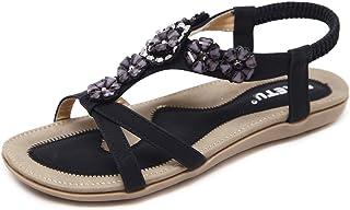 ZAPZEAL Sandales Femmes Plates Été Bohème Chaussures Strass Retro Perlé Nu Pieds à Talons Plats Claquettes Bride Arrière p...