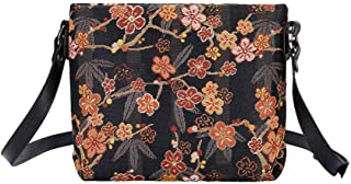 Signare Tapestry Crossbody Purse Small Shoulder Bag for Women with Ume Sakura Design Japanese Style