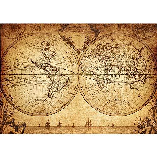 Vlies Fototapete 200x140 cm PREMIUM PLUS Wand Foto Tapete Wand Bild Vliestapete - VINTAGE WORLD MAP - Weltkarte Atlas Vintage Atlas alte Karte alter Altas - no. 076