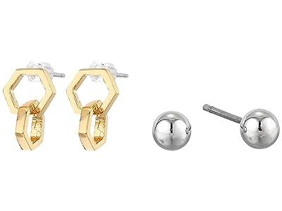 AllSaints Double Hex Stud Set Earrings (Gold) Jewelry Sets