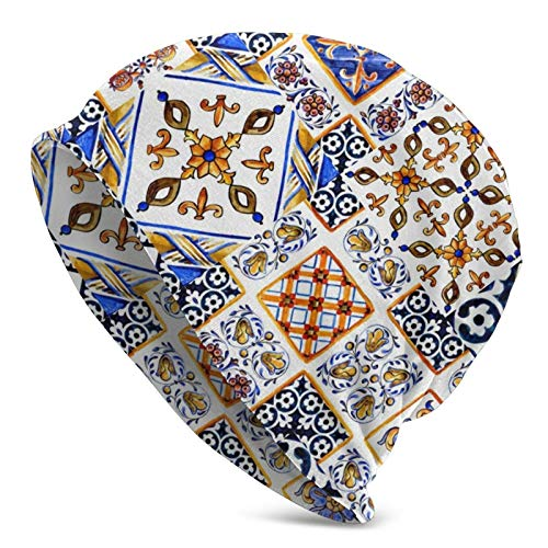 Linger In Art Italian Majolicawatercolor Mayolica Acuarela sobre baldosas de cerámica en Forma de Azul, marrón, Verde, Amarillo, Gorro, Gorro de Punto, Gorro de Calavera