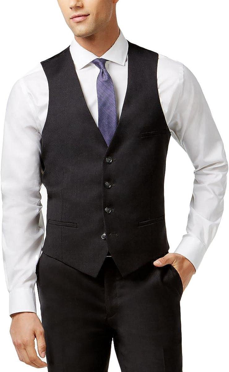 Bar III Slim Fit Charcoal Solid 100% Wool New Men's Dress Vest