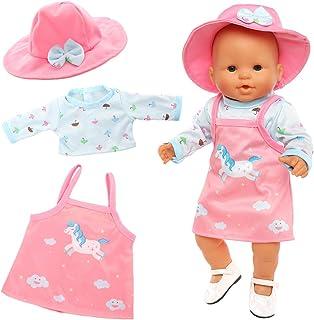 Miunana Kleding poppenkleding outfits voor baby poppen, eenhoorn kleding + hoed + schoenen voor 35-40 cm New Born Baby Dol...
