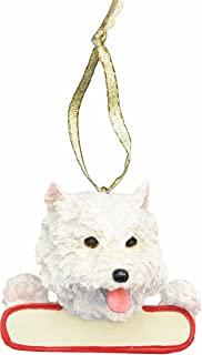 E&S Pets Westie Ornament White Santa's Pals with Personalized Name Plate A Great Gift for Westie Lovers