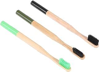 ROSENICE 3ピース 竹の歯ブラシの炭の毛 環境に優しい生分解性パッケージング 陸軍緑色と緑色と黒色