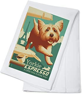 Yorkshire Terrier - Retro Yorkie Espresso Ad (100% Cotton Kitchen Towel)