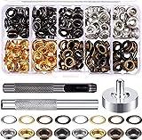 Accesorios de costura 200pcs 6mm ojal de metal conjuntos de metal botones de metal Hebillas Ojalos con lavamanos para zapatos Tela de cuero Herramientas de manualidades Kits de bricolaje para tela de