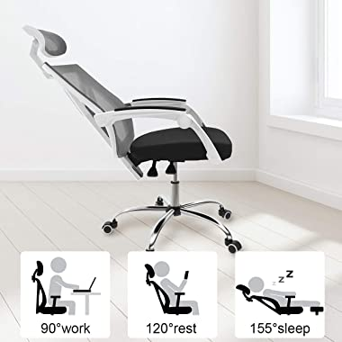 Hbada Ergonomic Home Office Chair - High-Back Desk Chair Racing Style with Lumbar Support - Height Adjustable Seat,Headrest-