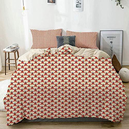Duvet Cover Set Beige,Nursery Cartoon Simplistic Fruit Trees Repetition, Decorative 3 Piece Bedding Set with 2 Pillow Shams