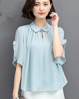 薇小歪 仙气质短袖雪纺衫女2018夏季新款半袖大码宽松遮肚子显瘦上衣洋气小衫