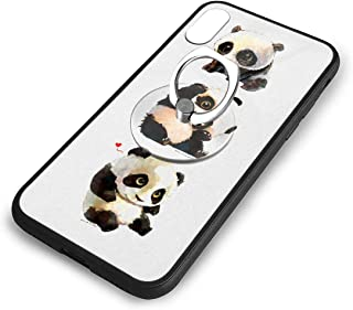 iPhone X Plus Cover Case XS Phone Kickstand Holder Shock Basic Protector with Finger Ring Stand Pandas