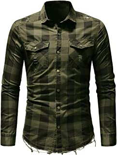 Men's Long Sleeve Plaid Shirt with Pocket Business Slim Fit Blouse Top