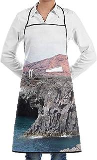 jingqi Casual Unisex Durable Ajustable Lavable Delantales de Cocina Lanzarote Seaside Delantales de Bolsillo de Chef de Moda Delantal