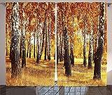 ABAKUHAUS Bosque Cortinas, Diseño de Las Hojas de otoño, Sala de Estar Dormitorio Cortinas Ventana Set de Dos Paños, 280 x 245 cm, Marrón Anaranjado