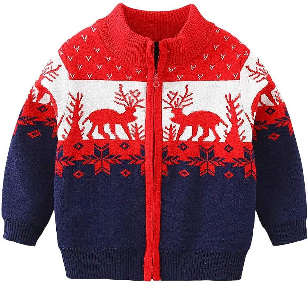 Mud Kingdom Little Boy Cardigan Sweater Zip Up Reindeer Christmas