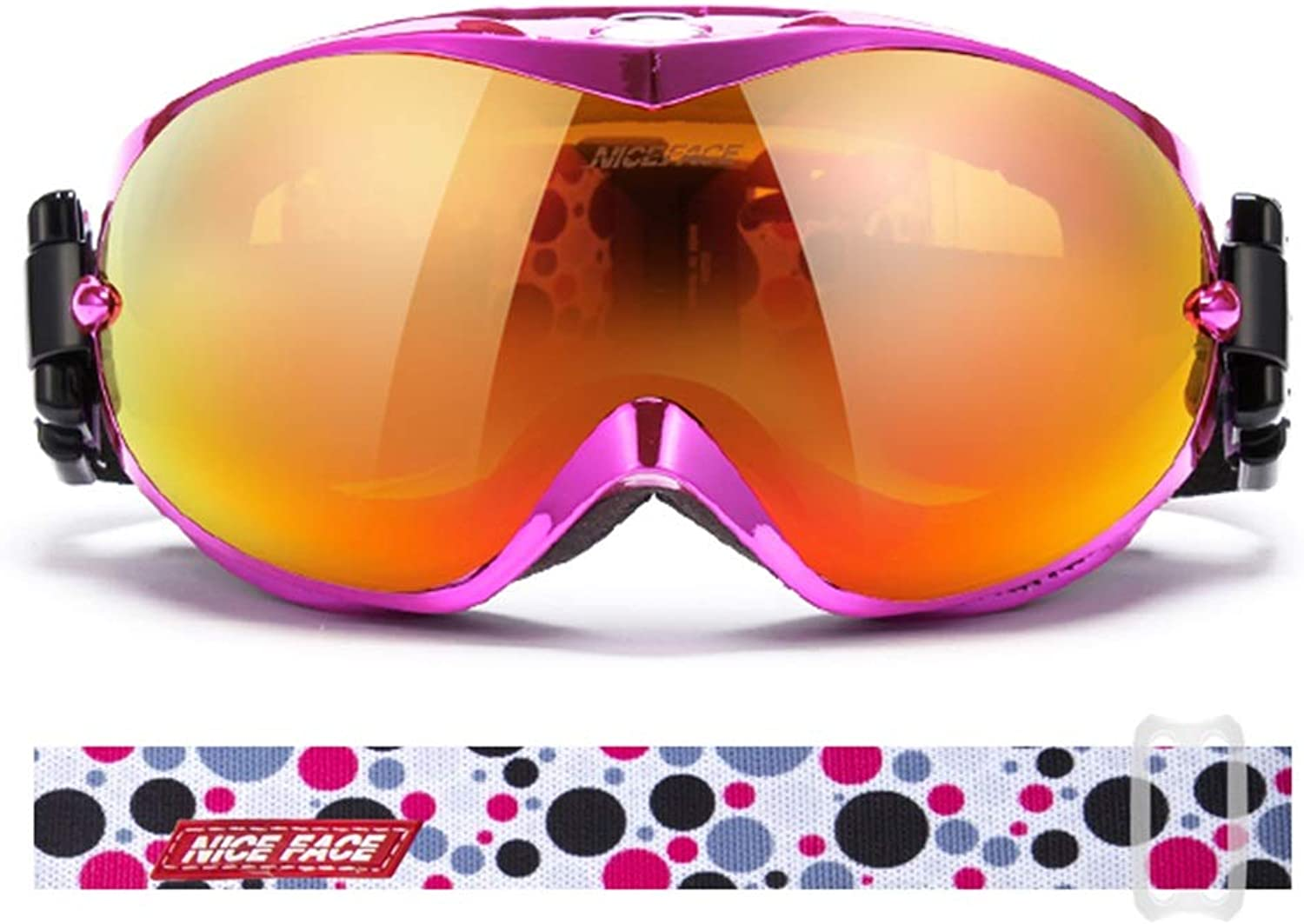 Ski goggles Ski GogglesSpace PC, Can Bring Into Myopia Glasses, Double Anti-fog, Plating Frame, Adult Universal Large-area Spherical Mountaineering Ski Plating Frame Coated Glasses (7 colors Option