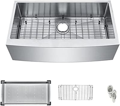 "Starstar Farmhouse Apron Front 16 Gauge 33"" Kitchen Single Bowl Sink, Stainless Steel (With Colander, Grid)"