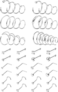 48Pcs 20G Surgical Steel Nose Rings Hoop Studs Cartilage Earrings Body Piercing Jewelry 1.5mm 2mm 2.5mm 3mm Cz Rose Gold Silver Gold Tone 6mm - 12mm Hoops