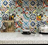 Heimerdinger Easy Apply Just Peel&Stick 12 PC Pack Home Kitchen & Bathroom Backsplash Vintage Vinyl Tile Stickers Waterproof Removable Wall and Floor Decals, Talavera Moroccan fireplace, furniture stair riser stickers 6x6