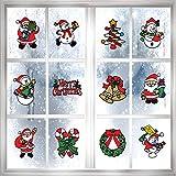 PHOGARY Paquete de 12 Adhesivos navideños, Decoraciones navideñas para la Ventana (Papá Noel, árbol de Navidad, Corona, Campanas, Feliz Navidad, bastón de Caramelo, muñeco de Nieve)