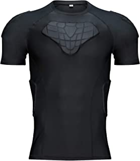 Body Safe Guard Youth Padded Compression Shirt Sports Short Sleeve Protective T-Shirt Shoulder Rib Chest Back Protector Pa...