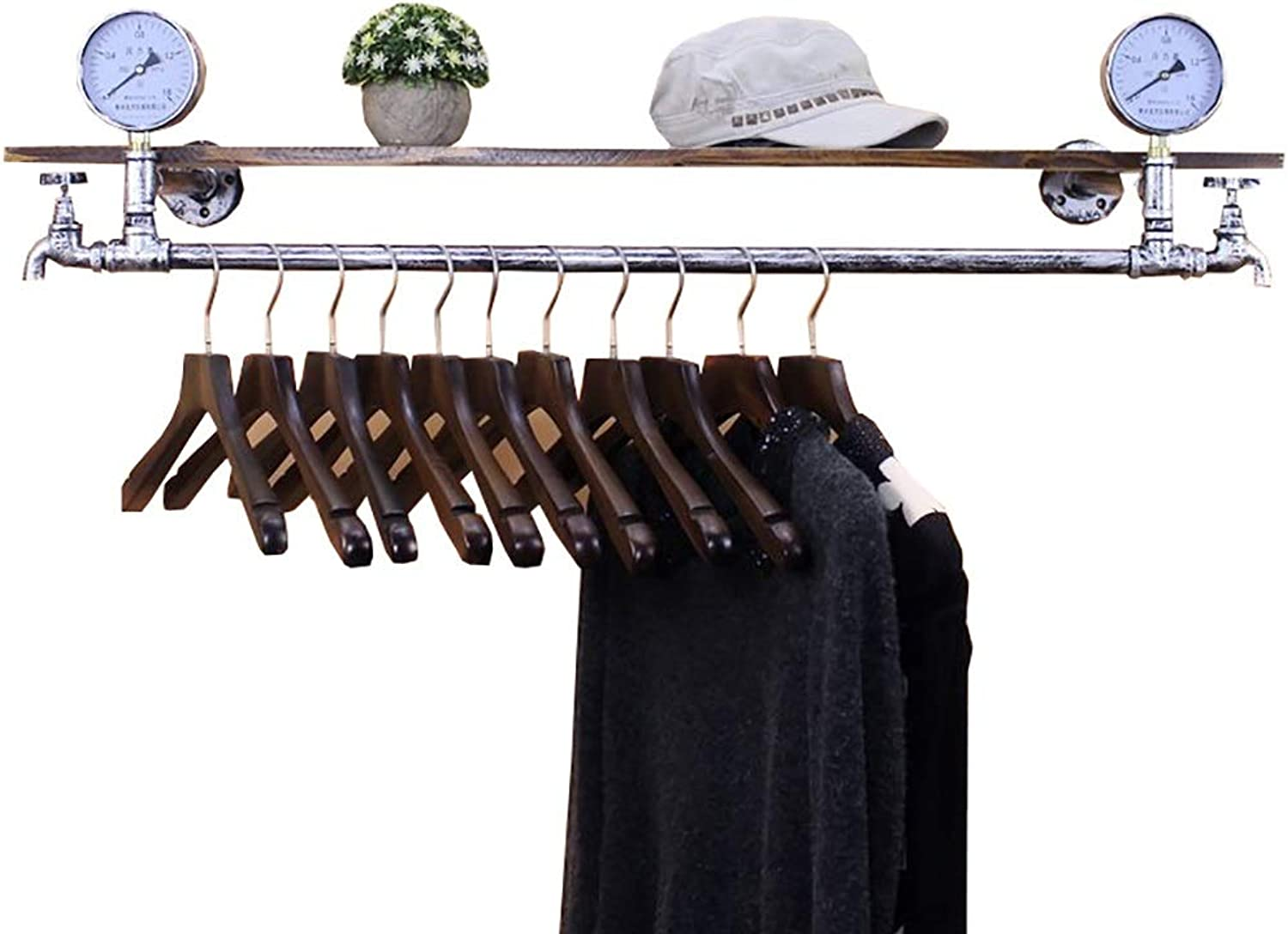 Coat Rack Wrought Iron Pipe Clothing Store Display Stand On The Wall Shelf Hanging Hanger (color   A, Size   65CM)